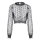 Women's Long Sleeve Hollow Out Transparent Top