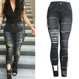 Women's Washed Out Denim Pencil Jeans w/ Destroyed Patchwork Design - Erbana 88