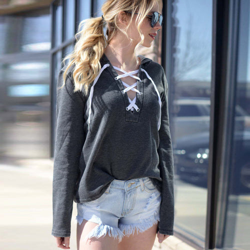 Women Lace Up Hoodie w/ Long Sleeve & Crop Top Pullover - Erbana 88