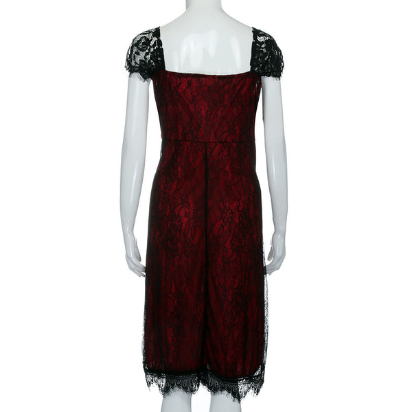 Women's Elegant Spanish Style Laced Red & Black Formal Dress