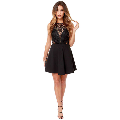 Women's Short Casual Backless Laced Cocktail Mini Dress - Erbana 88