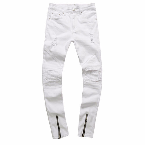 Men's Ripped Slim Fit Motorcycle Vintage Denim White Jeans w/ Zip Design - Erbana 88