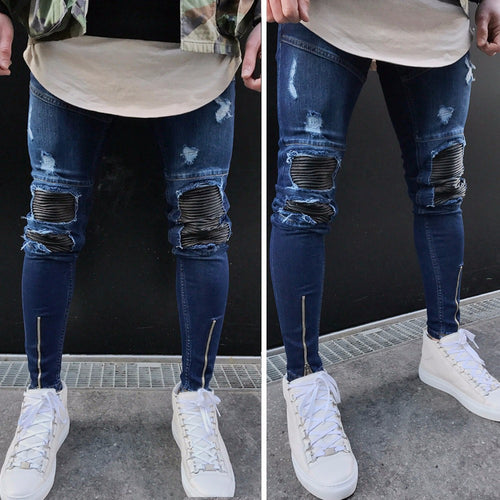 Mens Ripped Slim Fit Motorcycle Vintage Denim Jeans - Erbana 88