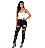 Women's Ripped Pencil Jeans w/ Designer Beading Patchwork - Erbana 88