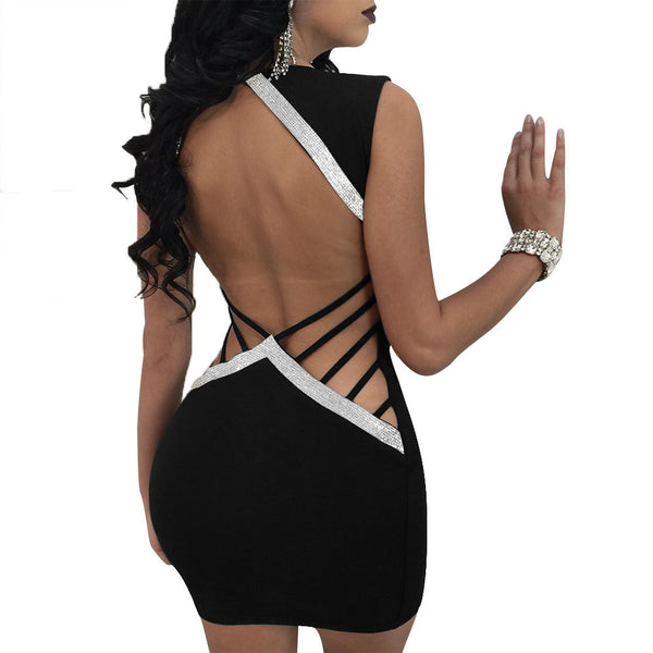 Women's Backless V-Neck w/ Hollow Out Bodycon Clubwear Mini Dress - Erbana 88