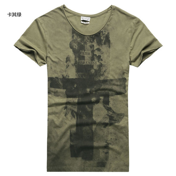 Men's Crossed Pattern 'From Darkness Comes Life' Tee