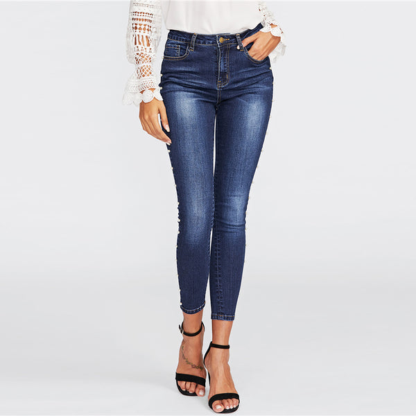 Women's High Waist Skinny Jeans w/ Pearl Beading Design & Faded Wash Pattern