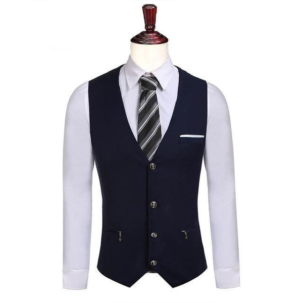 Men's Polyester Single-Breasted Slim Fit Business Vest w/ Zipper - Erbana 88
