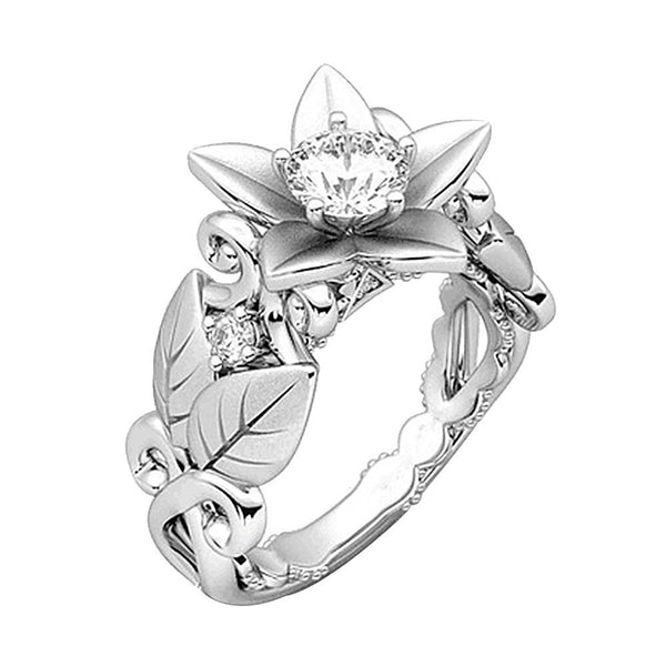 Women's Sterling Steel Floral Ring w/ Crystal Flower & Leaf Design - Erbana 88