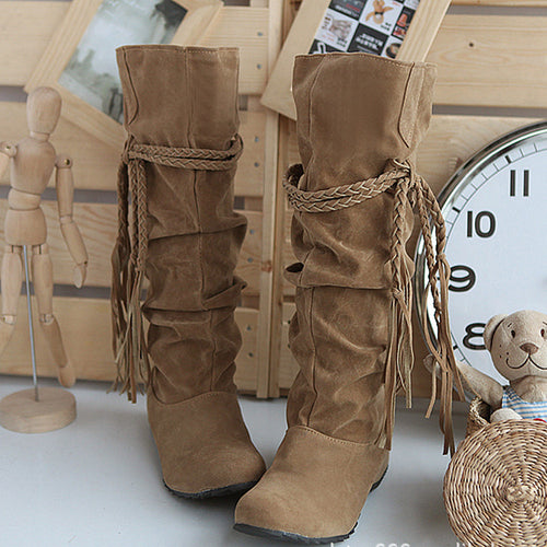 Women's Below Knee PU Leather Boots w/ Tassel Design - Erbana 88