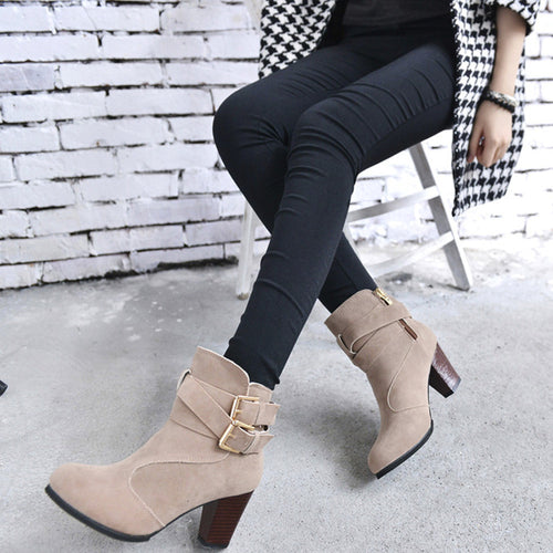 Women's British Style Faux Suede High Heel Ankle Boots w/ Dual Buckle Design - Erbana 88