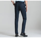 Men's Mid-Waist Wrinkle-Free Stretch Casual Solid Dress Pants w/ Straight-Fit Flat-Front - Erbana 88