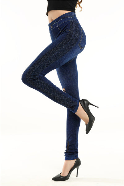 Women's Solid Blue Seamless Hollow Out Leggings w/ Cut Out Design