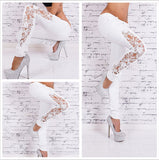 Women's Stretchy Hollow Out Skinny Denim Pencil Jeans w/ Side Lace Patchwork