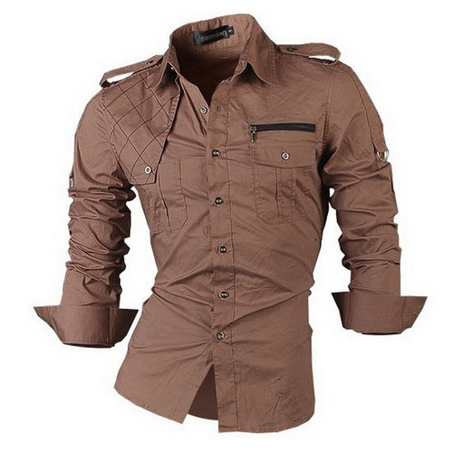 Men's Long Sleeve Military Style Shirt w/ Argyle & Zip Design - Erbana 88