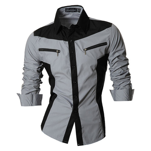 Men's Urban Style Long Sleeve Shirt w/ Zipped Pocket Design - Erbana 88
