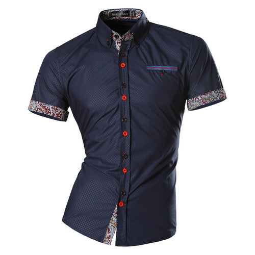 Men's Vintage Style Slim Fit Short Sleeve Shirt w/ Geometric Print - Erbana 88