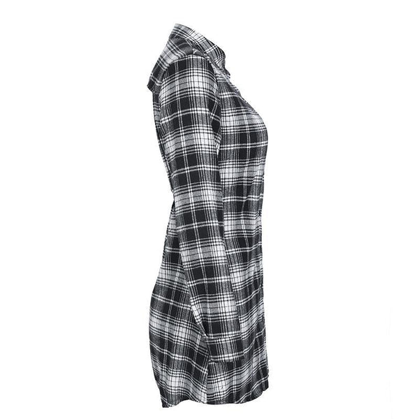Women's Urban Style Plaid Shirt w/ Hollow Out Chains - Erbana 88