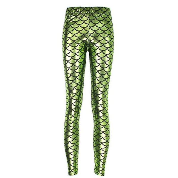 Women's Mermaid Fish Scale Elastic Pencil Style Leggings - Erbana 88