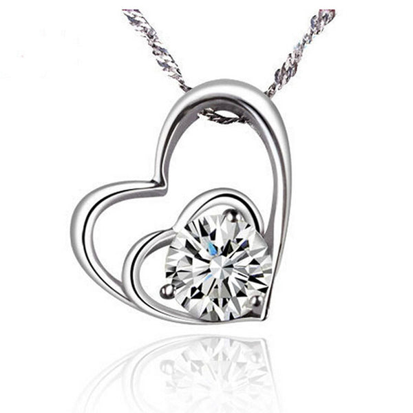 Women's Double Heart Pendant Necklace Chain Jewelry