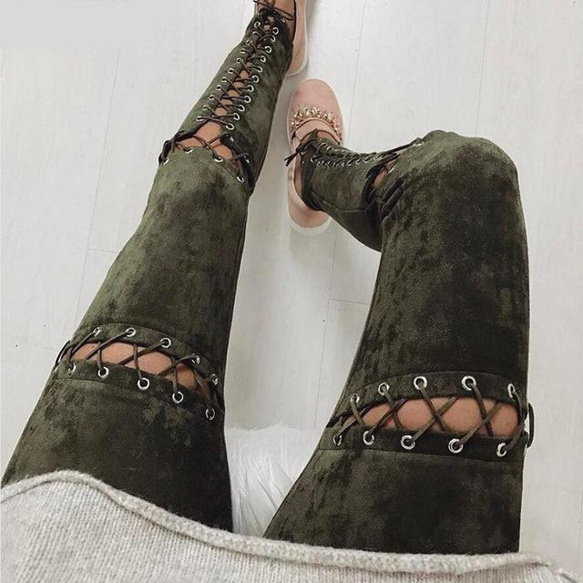 Women's Faux Suede High Waist Leggings w/ Criss Cross Lace-Up Design