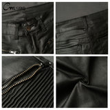 Women's High Quality Black Motor PU Leather Biker Pants w/ Spliced Pattern - Erbana 88