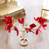 Women's Red Floral Greek Goddess Hair Accessory Crown - Erbana 88