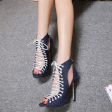 Women's Chic Hollow Out Lace-Up Thin Heel Pumps