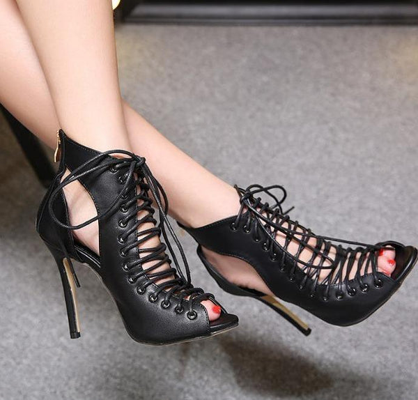 324b2f2014a5 Women s Chic Hollow Out Lace-Up Thin Heel Pumps - Erbana ...
