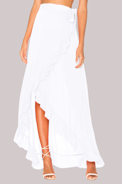 Women's Casual Long Maxi Chiffon Wrap Skirt w/ Elegant Ruffle Finish - Erbana 88