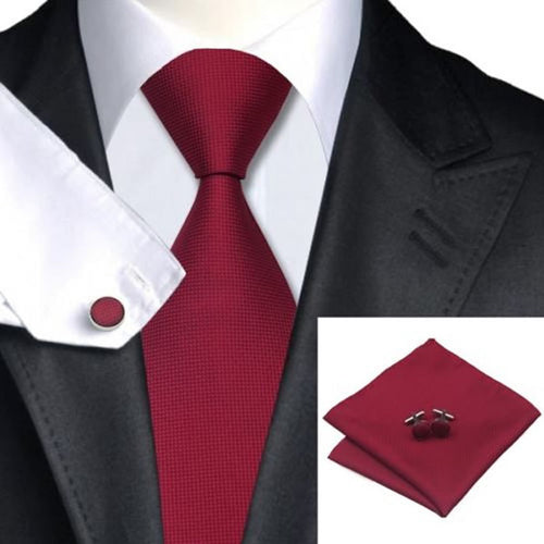 Woven Silk HandMade Tie w/ Cuff Links and Handkerchief Set - Erbana 88