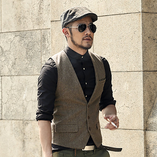 Men's Modern Line Tri Button Slim Fit Formal Vest w/ Decorative Pocket - Erbana 88