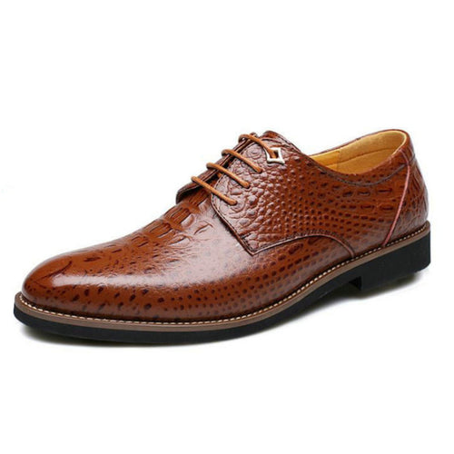 Men's Polished Crocodile Skin Pointed Toe Microfiber Formal Shoes w/ Leather Finish - Erbana 88