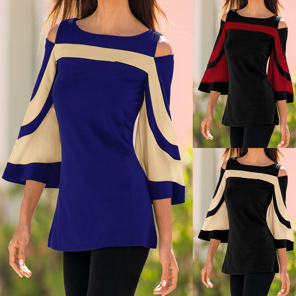 Women's Elegant Off Shoulder Dual Color Blouse