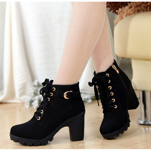 Women's Chic PU Leather Ankle Boots w/ Square Heel & Buckle Design - Erbana 88