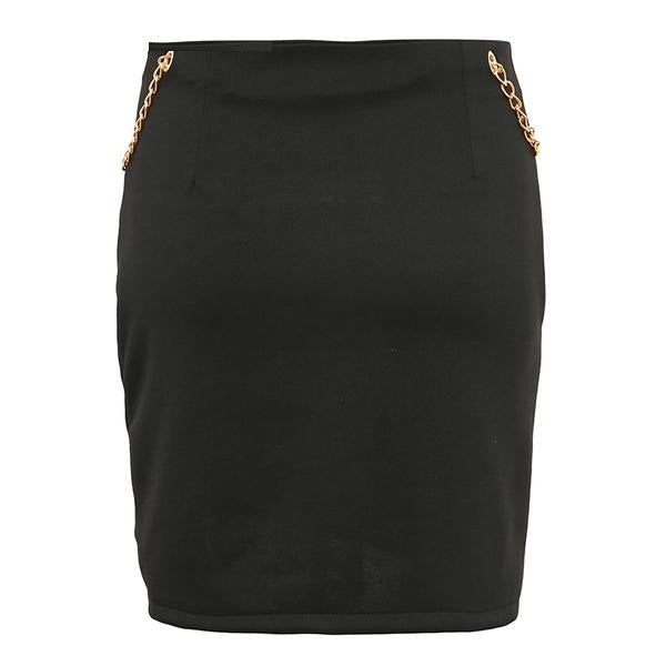 Women's Vintage Dual Split Mini Skirt w/ Metallic Chain Design
