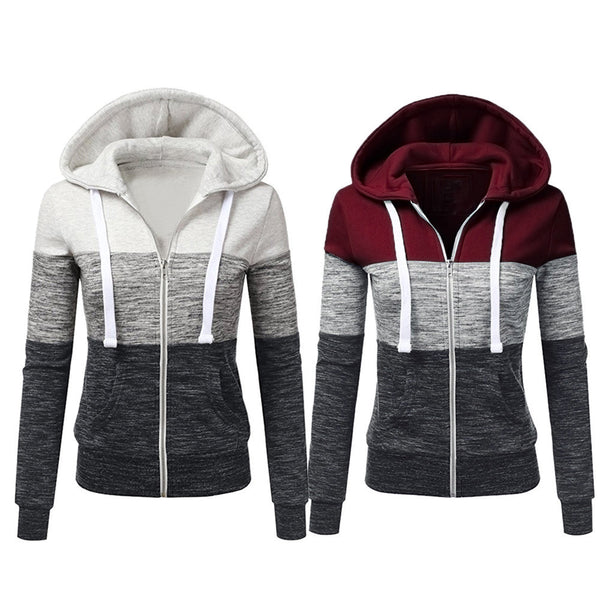 Women's Casual Long Sleeve Thin Zip Contrast Hoodie