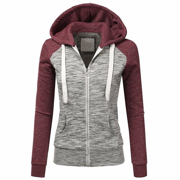 Women's Casual Long Sleeve Thin Zip Contrast Hoodie - Erbana 88