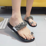 Women's Crystallized Slip On Sandals w/ Rhinestone Finish