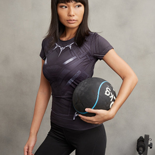 Women's Short Sleeve 'Black Panther' Printed Compression Tee - Erbana 88