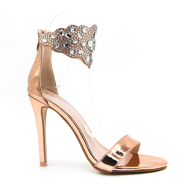 Women's Luxurious Dual Strap High Heels w/ Crystal Design Ankle Finish - Erbana 88