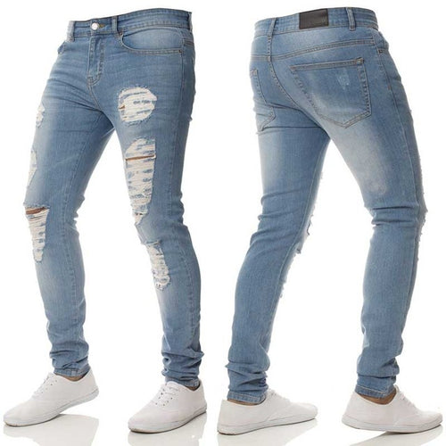 Envmenst Ripped Men's Leisure Stretch Skinny Denim Jeans - Erbana 88