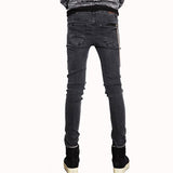 TANGNEST Slim Fit Punk Rocker Dark Grey Jeans w/ Zip & Scratch Pattern - Erbana 88