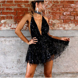 Women's Playful V-Neck Halter Sequined Dress w/ Tassel Design - Erbana 88
