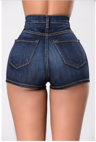 Women's High Waist Denim Shorts w/ Crimping Patchwork - Erbana 88