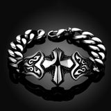 Men's Vintage Style Stainless Steel Silver Cross Tribal Bracelet