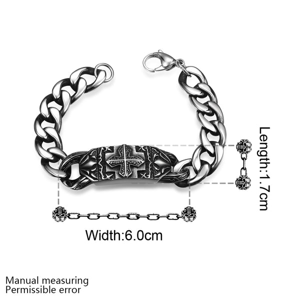 Men's High Quality Silver Bracelet w/ Lobster Clasps & Tribal Design - Erbana 88