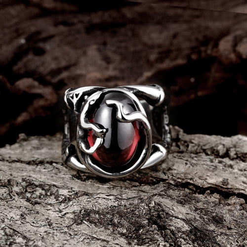 Men's Titanium Ring w/ Inlaid Corundum Ancient Mayan Design - Erbana 88