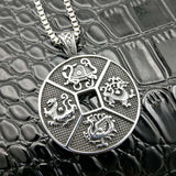 Men's Stainless Steel Round Totem Ancient Mayan Zodiac Sign Necklace - Erbana 88