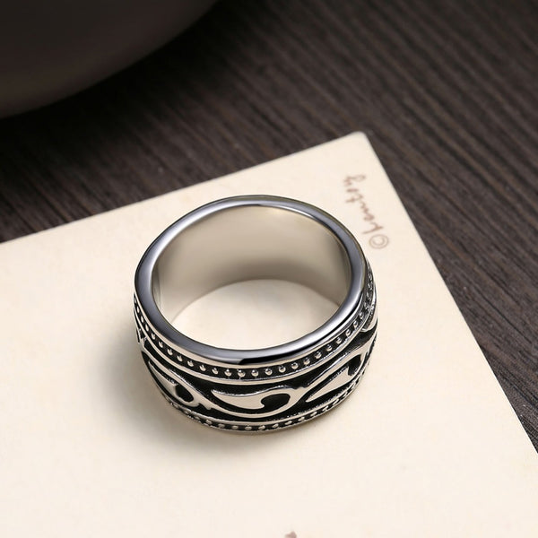 Men's Titanium Ancient Mayan Tribal Black Rock Designer Ring - Erbana 88